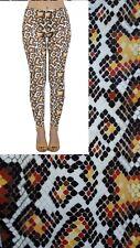 Soft Matte Fabric Yellow Snake Skin Print Leggings Trousers One Size (UK 8-12)