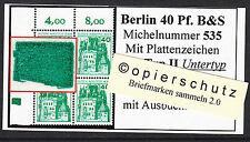 ❷❾  Berlin B&S 535 PZ Typ II Untertyp Plattenzeichen Ecke 1 Eckrand 1 OL RAR