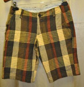 Hurley cotton shorts Sz 1 brown plaid *SALE*