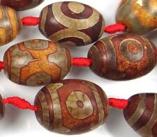 25-29mm Tibetan Old Agate Dzi Heaven Eye Barrel Pendant Focal Beads (4)