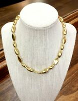"""Vintage Heavy Brushed Gold Bead Necklace Estate Jewelry 16"""""""
