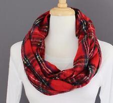 Red plaid infinity scarf tartan check circle infinity endless loop long scarf