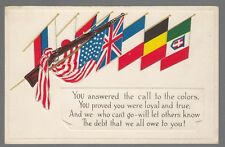 [54326] OLD PATRIOTIC POSTCARD AMERICAN FLAG WITH RIFLE & OTHER NATIONS' FLAGS