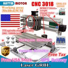 【USA】 Desktop DIY Mini 3 Axis 3018 CNC Router Pcb Wood Milling Engraver Machine