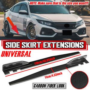 119cm Carbon Look Universal Car Side Skirt Rocker Extension Panel Splitter Lip