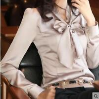 Womens Silk Blend Chiffon Bowkot Collar Long Sleeve Career Shirts Blouse Tops