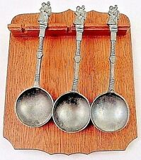 3 Pewter German Wedding Spoons Bride & Groom w/ Wood Rack Van Tante Borgerding