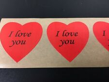"""100 Heart Shaped I Love You Stickers 1 3/8"""" Labels Wedding Craft Valentine Day"""