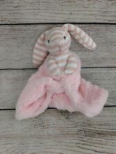 RARE ~ Kellytoy Security Blanket Baby Rattle Pink Bunny Sock Style Rabbit  Lovey