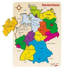 Goki Wooden Inlay Jigsaw Puzzle Germany States Rivers Cities Geography 57860