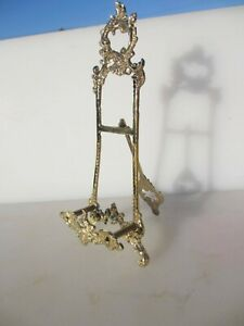 """Brass Easel Picture Stand Plate Holder Rack Display Antique French Rococo 9.5""""H"""