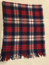 Vintage Blue Red Plaid Throw Camp Picnic CabinBlanket Scottish 100% Virgin Wool