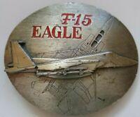 Vintage 1990 F-15 Belt Buckle Eagle Fighter Jet Aircraft Military Siskiyou