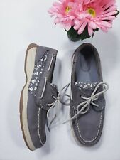 SPERRY TOP SIDER Gray Leather White Anchors Deck Boat Shoes Womens Sz 8 M