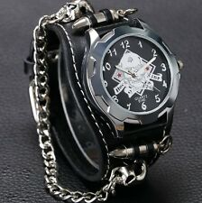 Retro Geek Skull & Crossbones Gothic Mens Womens Chain Wrist Watch Leather Strap