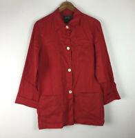 Lauren Ralph Lauren Women's Size M Button Down Shirt Red 100% Linen Long Sleeve