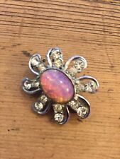 Vintage Circa 1950s White Metal Broach Opal Stone