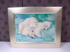 1998 CONSTANCE COLEMAN HUDDLED POLAR BEARS OIL PAINTING