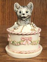 "HARMONY KINGDOM ""Gateau"" Cat in a Birthday Cake Treasure Jests David Lawrence"