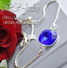 925 Pulsera De Plata Cristales de Swarovski ® elegante piedra Majestic Azul F 12 mm