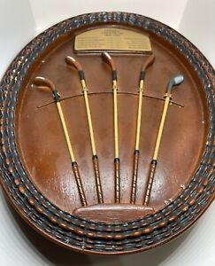 Antique Golf Clubs Wall Plaque Wood-Look Resin 1850-1880