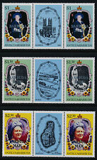 Barbuda 730,2,4 Gutter Pairs MNH Queen Mother, Flowers,  o/p