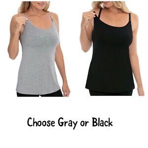 NEW Nursing Tank Top Womens 2X 18W-20W Black Gray Breastfeeding Cami Shelf Bra