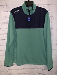 RLX Ralph Lauren Men's Large 1/4 Zip Golf Blue Green Pullover Sweater
