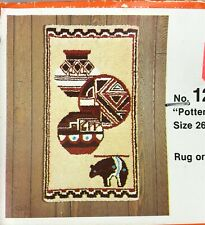 Vintage Bucilla 'Pottery' Latch Hook Canvas Desert Southwest Wall Hanging Rug