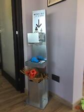 Colonnina Piantana Totem igienizzante Dispenser gel Porta guanti e cestino