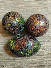 Gorgeous Decorative Balls Set of 3 Glass Mosaic Sphere shiny