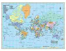 "WORLD Wall Map Political Poster 22""x17"" - LARGE PRINT Rolled Paper 2018"