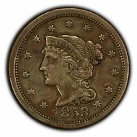 1853 1c Braided Hair Large Cent - AU Coin - SKU-Y2849