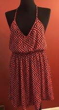 Zouk: Romper Style Dress Orange & Black Chevron Print W/Crochet Lace Embellish