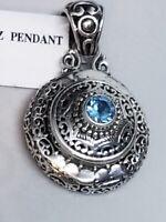 Swiss Blue Topaz Gemstone & 925 Sterling Silver Pendant