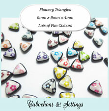 10 x Flowery Triangles 9mm Flat back Cabochons