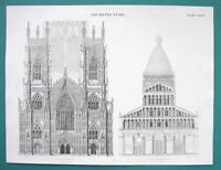 ARCHITECTURE York & Pisa Cathedral Facades - c. 1830 Fine Quality Print