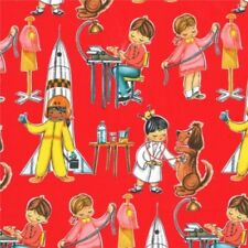 Fat Quarter Aesop/'s Fable Story Red Sewing Cotton Quilting Fabric