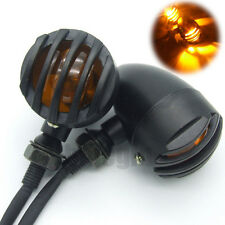 Motorcycle Black Grill Bullet Blinker Turn Signal Lights Bobber Chopper Cruiser
