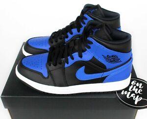 Nike Air Jordan 1 Retro Mid Black Hyper Royal Blue White UK 3 4 5 6 7 8 US New
