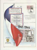 FRANCE Feuillet numéroté Serment de KOUFRA  signé Mme Maréchale Leclerc 1964