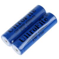2pcs 18650 6800mAh 3.7V Rechargeable Li-ion Battery Blue for Flashlight U6R7