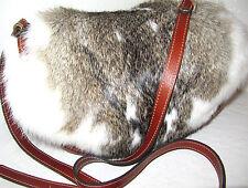 Patricia Nash leather Half Moon Palma Saddle Bag White & Brown Fur NWT $249