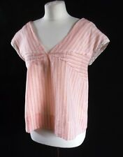 ORLA KIELY cotton silk wide top pale orange stripes size 4 UK 12 to smaller 14