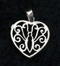 Pendentif Coeur et Papillon -bijoux en Argent  925-1.3g-W24 10042