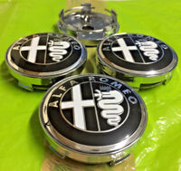 Alfa Romeo Alloy Wheel Centre Cap 60mm Black/White Set Of 4 Emblem Badge Logo