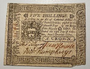 1775 Pennsylvania Colonial 5 Shillings American Revolution