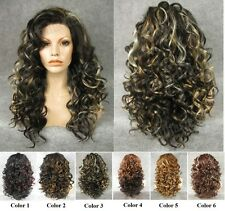 """21"""" front lace long wavy curly black highlight synthetic wig for fashion women"""