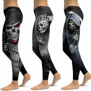 Skull Leggings Yoga Pants Women Sports Pants Fitness Running Sexy Push Up Gym