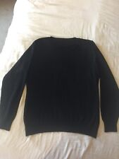 Black Crew Neck Cotton Cashmere Knitted Sweater Size 1XL